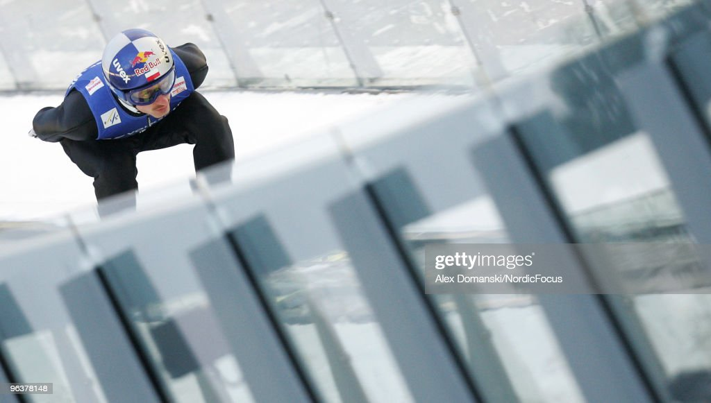 Adam Malysz of Poland competes during the trial round of the FIS Ski Jumping World Cup on February 3, 2010 in Klingenthal, Germany.
