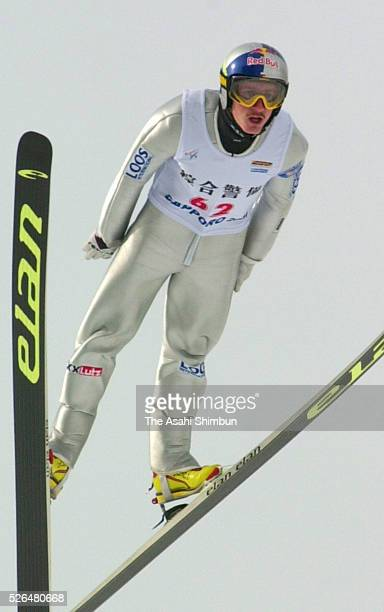 Adam Malysz of Poland competes in day one of the FIS Ski Jumping World Cup Sapporo at Okurayama Jump Stadium on January 27 2001 in Sapporo Hokkaido...
