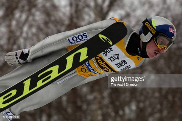 Adam Malysz of Poland competes in day two of the FIS Ski Jumping Sapporo at Okurayama Jump Stadium on January 28 2001 in Sapporo Hokkaido Japan