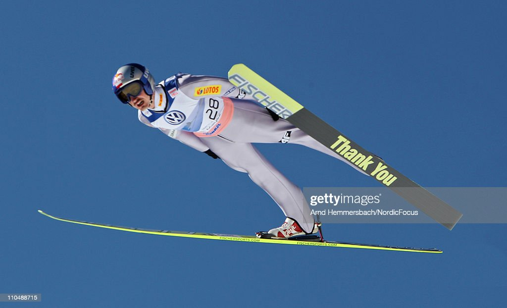 Adam Malysz of Poland competes in his last world cup competition with a 'good bye ski' during the Ski Flying Individual Competition in the FIS World Cup Ski Jumping on March 20, 2011 in Planica, Slovenia.