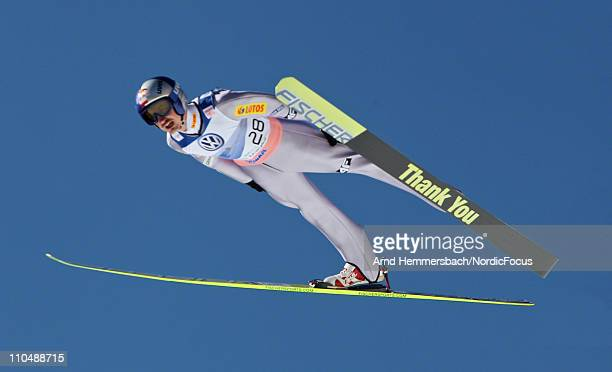 Adam Malysz of Poland competes in his last world cup competition with a 'good bye ski' during the Ski Flying Individual Competition in the FIS World...