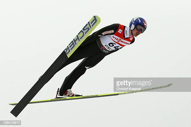 Adam Malysz of Poland competes in the Men's Ski Jumping HS106 Qualification round during the FIS Nordic World Ski Championships at Holmenkollen on...