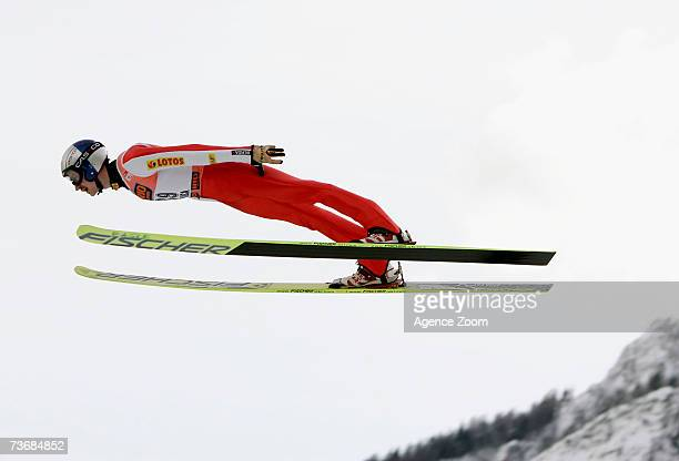 Adam Malysz of Poland competes taking 1st place during the FIS Ski Jumping World Cup HS215 Flying Hill Individual event on March 23 2007 in Planica...