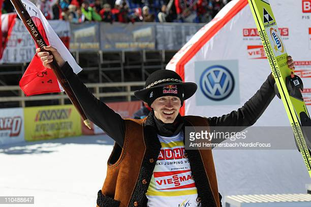 Adam Malysz of Poland says good bye to the World Cup during the Ski Flying Individual Competition in the FIS World Cup Ski Jumping on March 20 2011...