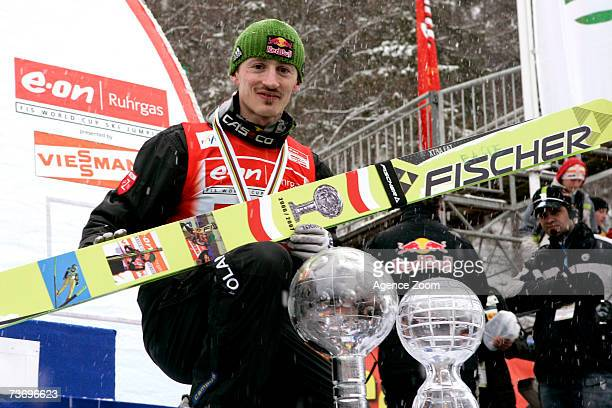 Adam Malysz of Poland takes 1st place winner total world cup 2006/07 during the FIS Ski Jumping World Cup HS 215 event on March 25 2007 in Planica...