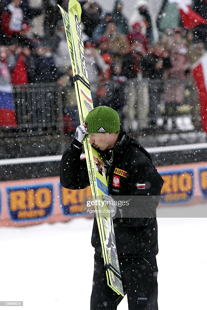 Adam Malysz of Poland takes 1st place , winner total world cup 2006/07 during the FIS Ski Jumping World Cup HS 215 event on March 25, 2007 in Planica, Slovenia.