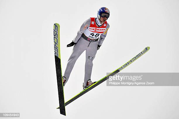 Adam Malysz of Poland takes 3rd place during the FIS Nordic World Ski Championships Ski Jumping Men's HS106 on February 26 2011 in Oslo Norway