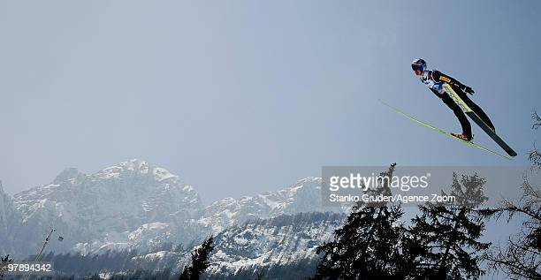 Adam Malysz of Poland takes 4rd during the FIS Ski Flying World Championships Day 2 HS215 on March 20 2010 in Planica Slovenia