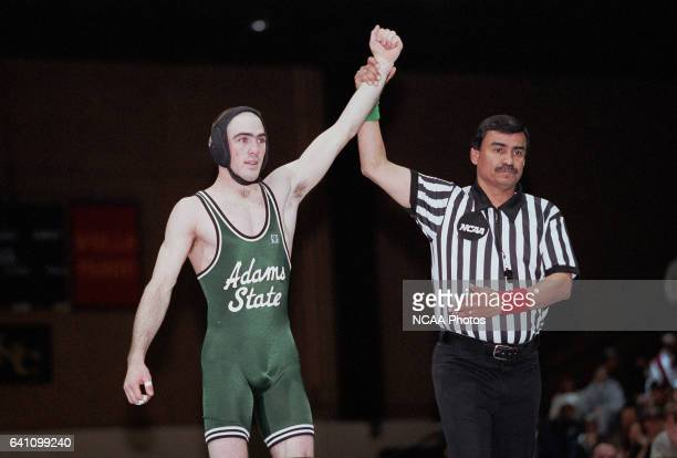 Adam Mars of Adams State University pinned Mack LaRock of the University of NebraskaOmaha for the 125 pound weight class championship during the NCAA...