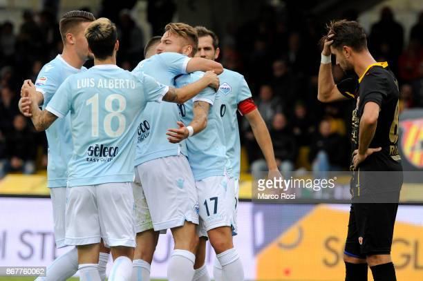 Adam Marusi of SS Lazio celebrates their third goal during the Serie A match between Benevento Calcio and SS Lazio at Stadio Ciro Vigorito on October...