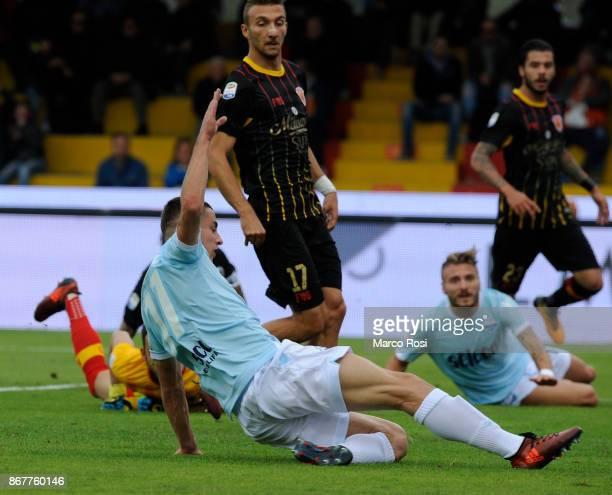 Adam Marusi of SS Lazio scores their third goal during the Serie A match between Benevento Calcio and SS Lazio at Stadio Ciro Vigorito on October 29,...