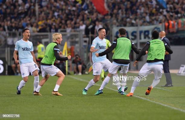 Adam Marusic celebrates after scoring a goal 10 during the Italian Serie A football match between SS Lazio and FC Inter at the Olympic Stadium in...