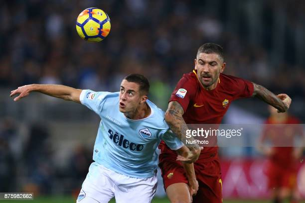 Adam Marusic of Lazio and Aleksandar Kolarov of Roma during the Italian Serie A football match AS Roma vs Lazio on November 18 2017 at the Olympic...