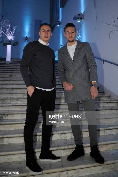 Adam Marusic of SS Lazio and Sergej Milinkovic Savic of SS lazio pose during the SS Lazio Christmas Party on December 19 2017 in Rome Italy