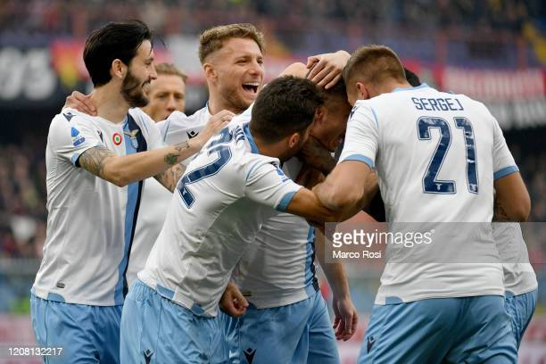 Adam Marusic of SS Lazio celebrate a opening goal with his team mates during the Serie A match between Genoa CFC and SS Lazio at Stadio Luigi...