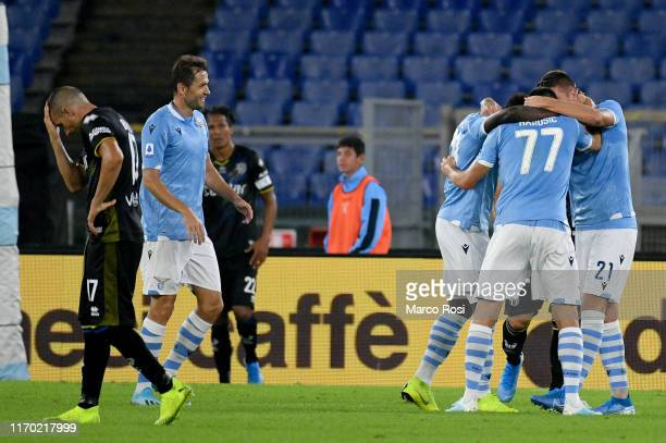 Adam Marusic of SS Lazio celebrate a second goal with his team mates during the Serie A match between SS Lazio and Parma Calcio at Stadio Olimpico on...