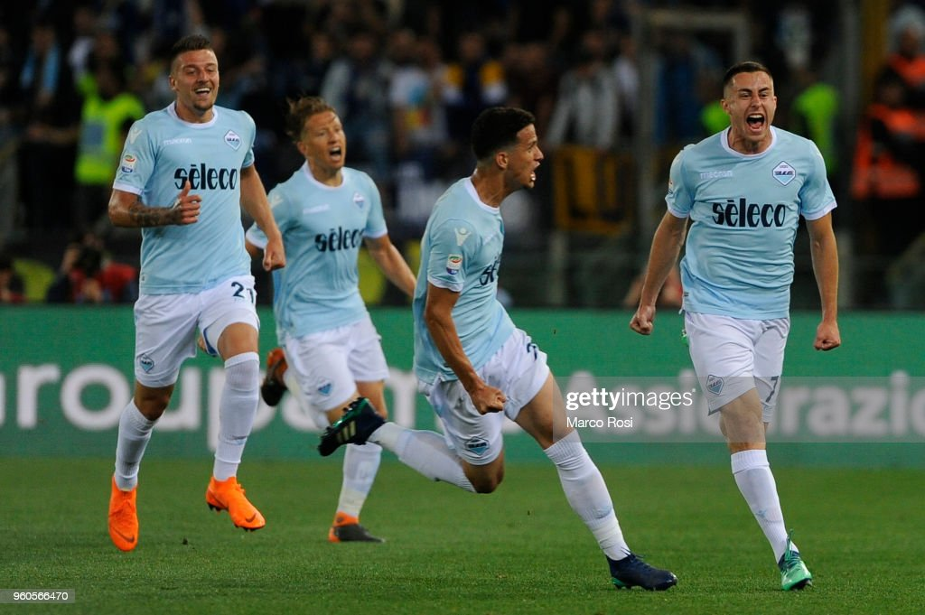 Adam Marusic of SS Lazio celebrates a opening goal with team mates during the serie A match between SS Lazio and FC Internazionale at Stadio Olimpico on May 20, 2018 in Rome, Italy.
