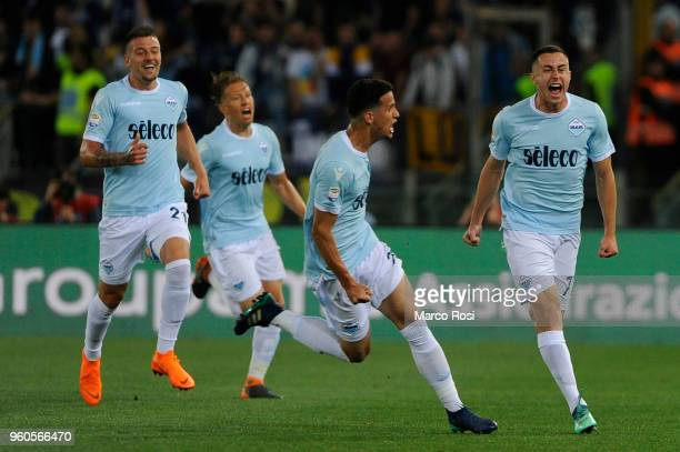 Adam Marusic of SS Lazio celebrates a opening goal with team mates during the serie A match between SS Lazio and FC Internazionale at Stadio Olimpico...