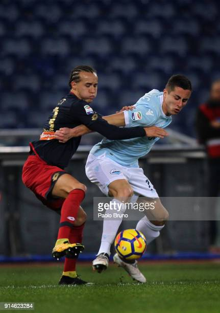 Adam Marusic of SS Lazio competes for the ball with Diego Laxalt of Genoa during the Serie A match between SS Lazio and Genoa at Stadio Olimpico on...