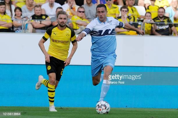 Adam Marusic of SS Lazio in actin during the Borussia Dortmund v Lazio PreSeason Friendly at the Essen Stadium on August 12 2018 in Essen Germany