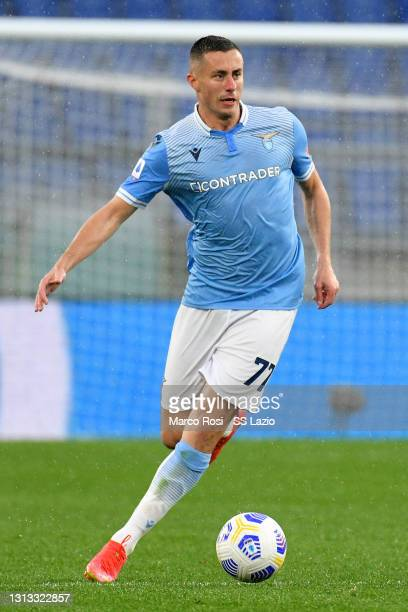 Adam Marusic of SS Lazio in action during the Serie A match between SS Lazio and Benevento Calcio at Stadio Olimpico on April 18, 2021 in Rome,...