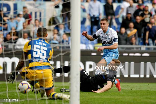 Adam Marusic of SS Lazio scores a opening goal during the Serie A match between SS Lazio and Parma Calcio at Stadio Olimpico on March 17 2019 in Rome...