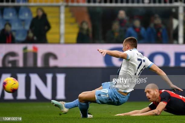 Adam Marusic of SS Lazio scores a opening goal during the Serie A match between Genoa CFC and SS Lazio at Stadio Luigi Ferraris on February 23 2020...