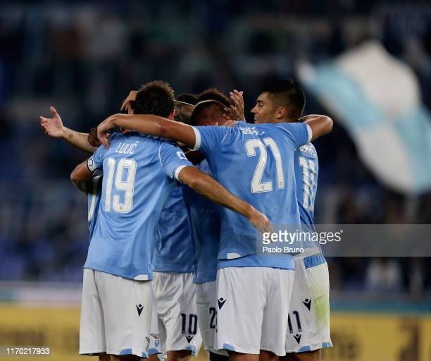 Adam Marusic with his teammates of SS Lazio celebrates after scoring the team's second goal during the Serie A match between SS Lazio and Parma...