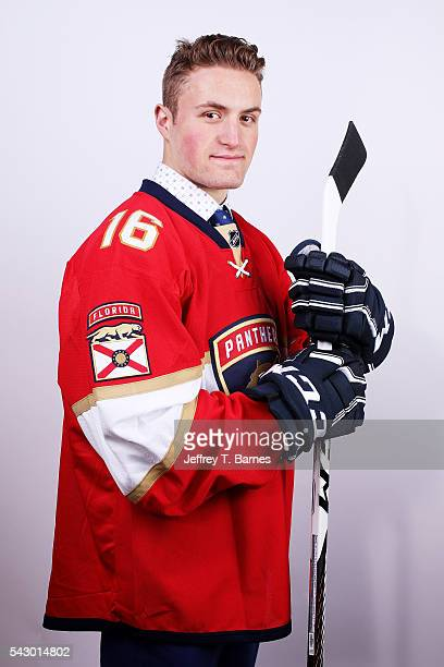 Adam Mascherin poses for a portrait after being selected 38th overall by the Florida Panthers during the 2016 NHL Draft on June 25 2016 in Buffalo...
