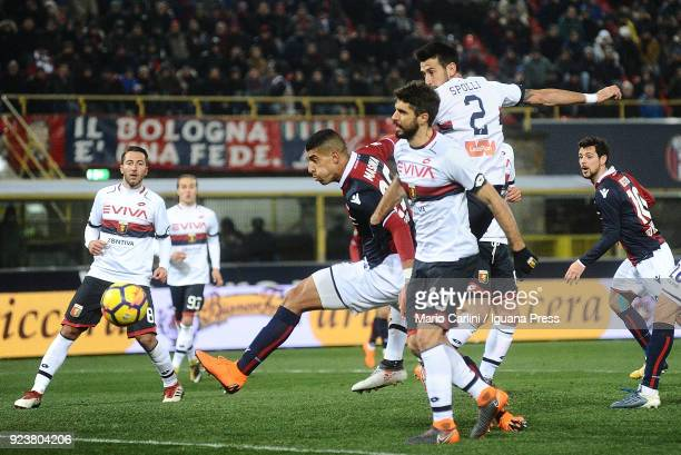 Adam Masina in action during the serie A match between Bologna FC v Genoa CFC at Stadio Renato Dall'Ara on February 24 2018 in Bologna Italy