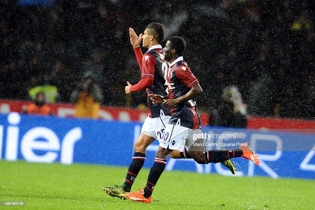 Adam Masina # 25 of Bologna FC celebrates after scoring his team's first goal during the Serie A match between Bologna FC and AS Roma at Stadio Renato Dall'Ara on November 21, 2015 in Bologna, Italy.