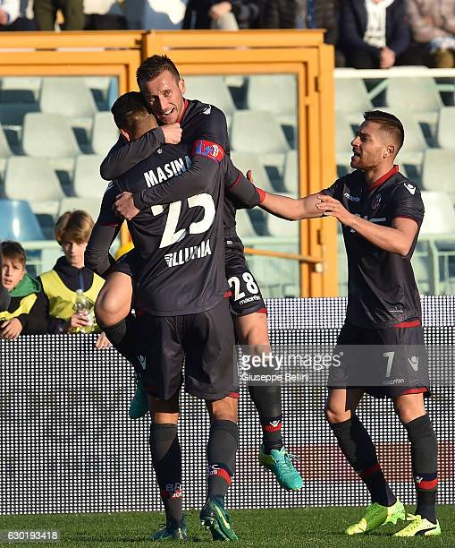 Adam Masina of Bologna FC celebrates after scoring the opening goal during the Serie A match between Pescara Calcio and Bologna FC at Adriatico...