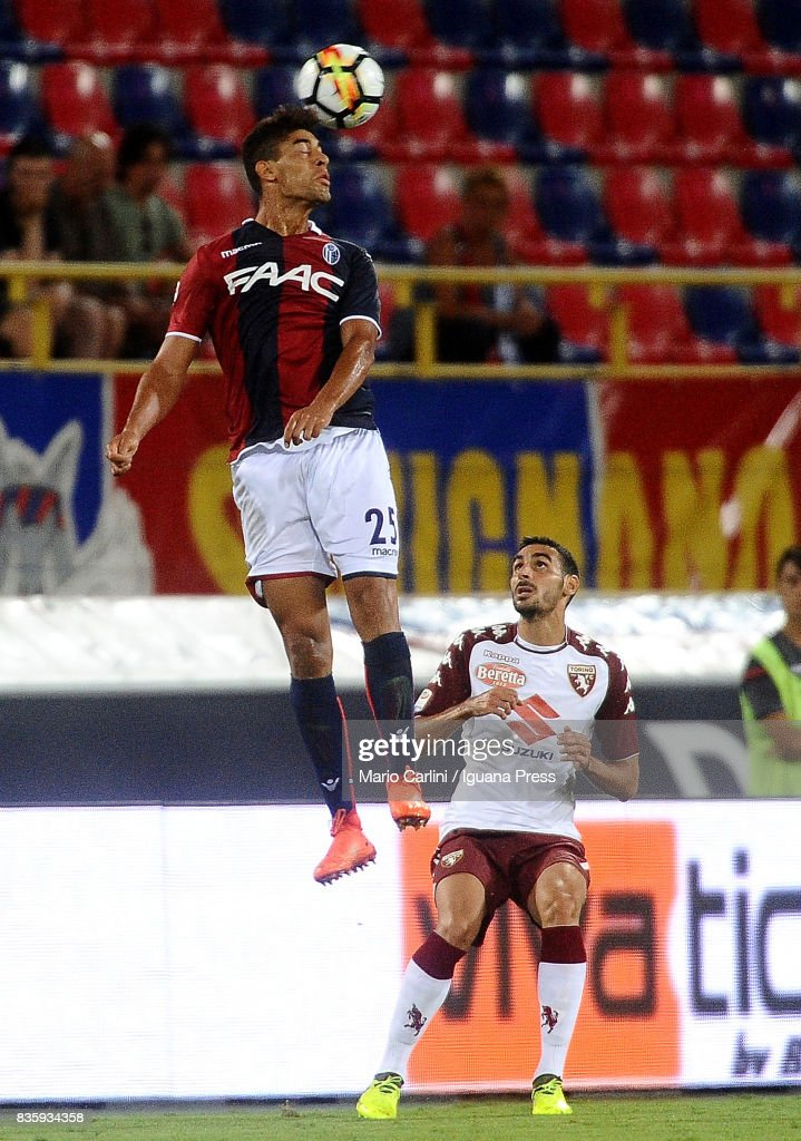 Adam Masina # 25 of Bologna FC heads the ball during the Serie A match between Bologna FC and Torino FC at Stadio Renato Dall'Ara on August 20, 2017 in Bologna, Italy.