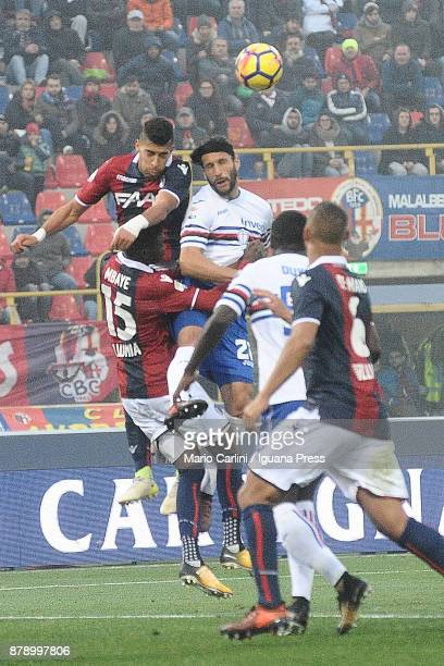 Adam Masina of Bologna FC headstheb ballduring the Serie A match between Bologna FC and UC Sampdoria at Stadio Renato Dall'Ara on November 25 2017 in...