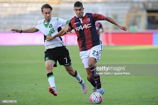 Adam Masina of Bologna FC in action during the Serie A match between Bologna FC and US Sassuolo Calcio at Stadio Renato Dall'Ara on August 29 2015 in...