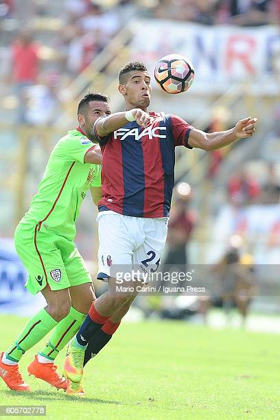 Adam masina of Bologna FC in action during the Serie a match between Bologna FC and Cagliari Calcio at Stadio Renato Dall'Ara on September 11 2016 in...