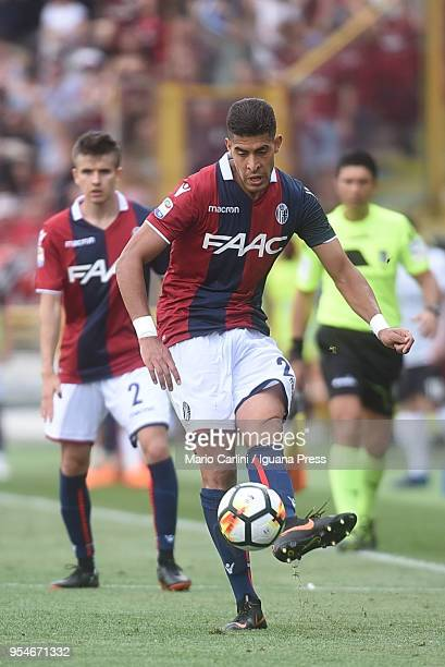 Adam Masina of Bologna FC in action during the serie A match between Bologna FC and AC Milan at Stadio Renato Dall'Ara on April 29 2018 in Bologna...