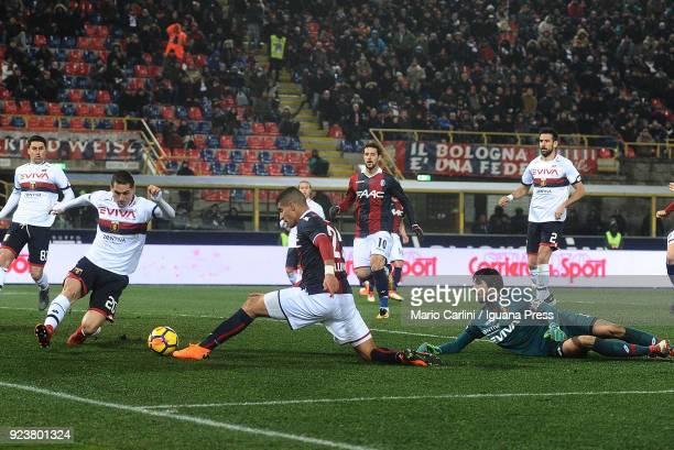 Adam Masina of Bologna FC kicks towards the goal during the serie A match between Bologna FC v Genoa CFC at Stadio Renato Dall'Ara on February 24...
