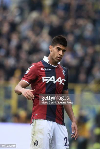 Adam Masina of Bologna FC looks on during the serie A match between Bologna FC and Hellas Verona FC at Stadio Renato Dall'Ara on April 15 2018 in...
