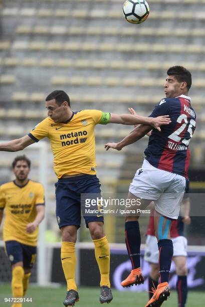Adam Masina of Bologna FC wins a header during the serie A match between Bologna FC and Hellas Verona FC at Stadio Renato Dall'Ara on April 15 2018...