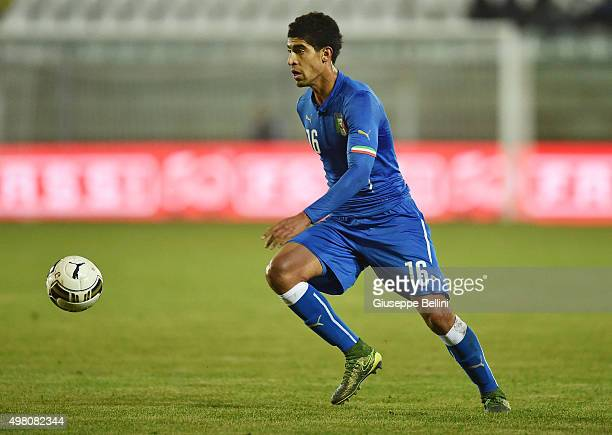 L'AQUILA ITALY NOVEMBER 17 Adam Masina of Italy U21 in action during the 2017 UEFA European U21 Championships Qualifier between Italy U21 and...