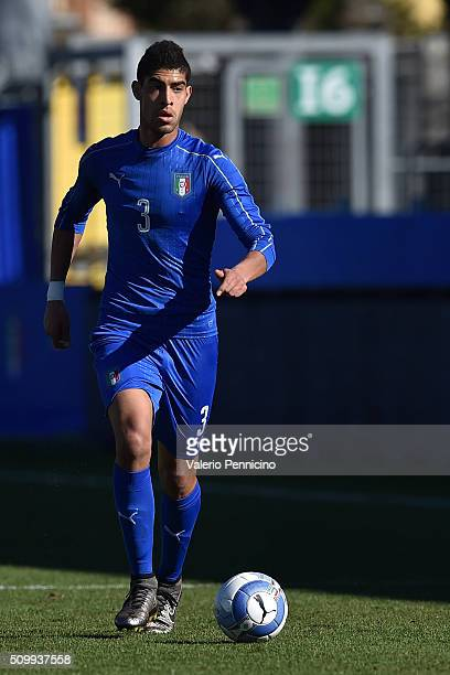 Adam Masina of Italy U21 in action during the friendly match between Italy U21 and Italy B on February 10 2016 in Chiavari Italy