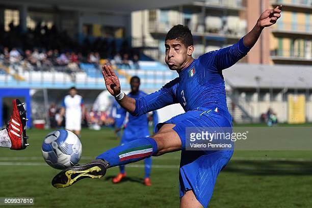 Adam Masina of Italy U21 kicks the ball during the friendly match between Italy U21 and Italy B on February 10 2016 in Chiavari Italy
