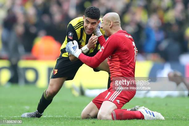 Adam Masina of Watford and goalkeeper Heurelho Gomes celebrate their win during the FA Cup Semi Final match between Watford and Wolverhampton...