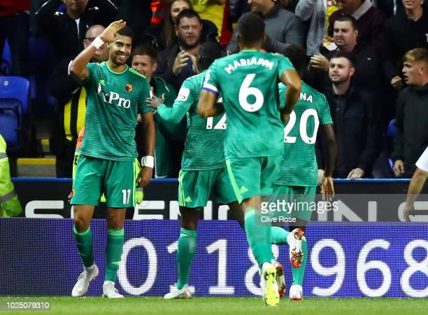 Adam Masina of Watford celebrates his team's first goal during the Carabao Cup Second Round match between Reading and Watford at Madejski Stadium on...