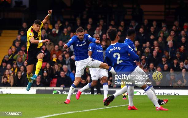 Adam Masina of Watford FC scores his teams first goal during the Premier League match between Watford FC and Everton FC at Vicarage Road on February...
