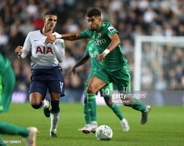 Adam Masina of Watford in action during the Carabao Cup Third Round match between Tottenham Hotspur and Watford at Stadium mk on September 26 2018 in...