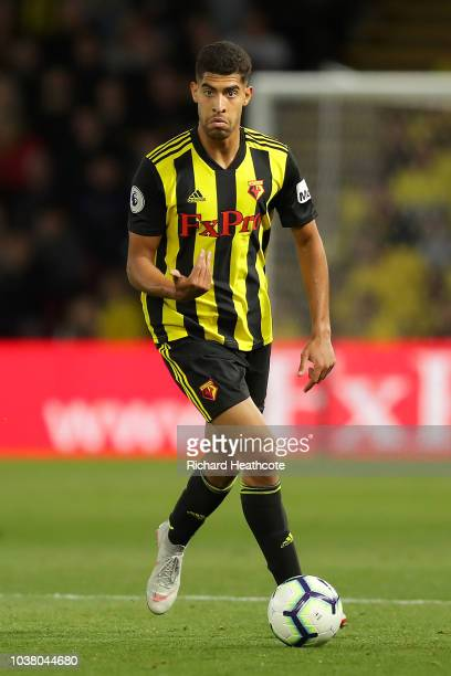 Adam Masina of Watford in action during the Premier League match between Watford FC and Manchester United at Vicarage Road on September 15 2018 in...