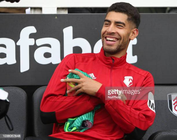 Adam Masina on the bench during Premier League between Fulham and Watford at Craven Cottage Stadium London England on 22 Sept 2018