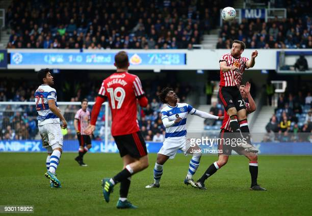 Adam Matthews of Sunderland headers during the Sky Bet Championship match between QPR and Sunderland at Loftus Road on March 10 2018 in London England